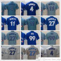 2021 beisebol costurado 27 vladimir 4 george guerrero jrero jerseys azul 11 bo 99 hyun-jin bichette ryu jersey cinza branco blank nenhum nome número