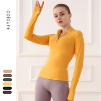 Yoga Top Long Sleeve Shirt Zipper Sports Jacket Women Fitness Gym Workout Coat Tight Quick Dry Fit Sportwear Running Clothes