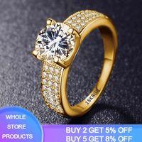 Yanhui - women's cubic 925 pure silver, round zirconia diamond, 18K, gold, wedding ring, girls' boutique jewelry