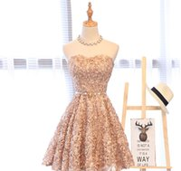 2021 Champagne Short Graduation Dresses Sweetheart 3D flower Cocktail Party Gowns Mini Sweet 16 Evening Prom Dress