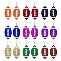 Pendientes de fútbol para mujeres - Pendientes de fútbol de piel sintética de brillo para mamá - Earings de fútbol de una sola capa para niñas