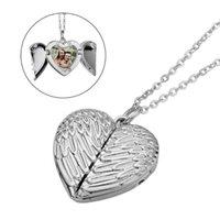 Anhänger Halsketten Halskette Angel Flügelmuster Abschlussbare PO Learn Legierung Liebe Form Kette Sublimation für Frauen