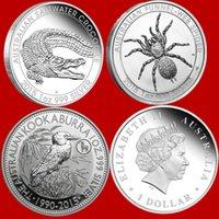 1OZ AUSTRALIE AUSTRALIA Silver Bullion Coin Autres arts et métiers Médaille de 200pcs / Lot Mélange 3 Design Crocodile Spider Kookaburra Collection Badge Perth Mint Nouvel An Cadeau Nouvel An