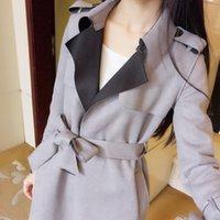 Women's Trench Coats Autumn Coat 2021 Est Fashion Outerwear Long Korean Style Slim Fit Top Ladies Elegant Windbreakers LWL553