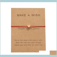 Jewelry Arrival Make A Wish Card Bracelets Fashion Red Rope Handmade Woven Gold Plated Heart Charm Bracelet For Women Mens Drop Delive