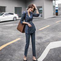Fashion Spring Summer Women's OL Warm Striped Blazer With Belt Slim Pants Two-piece Set Suits & Blazers