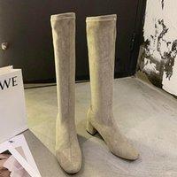 Boots 2021 Winter Women Stretch Fabric Long Sock Flock 5cm Block High Heels Knee Low Thigh Shoes