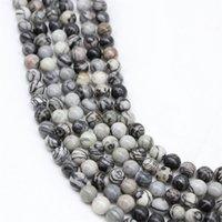 CSJA all'ingrosso 4mm zebra pietra naturale pietra nera striscia di pietra perline per perline per braccialetto fai da te collana gioielli rendendo le donne vintage uomini allentati 171 W2