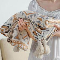 Blankets Warm Bed Knitted Throw Blanket Nordic Black Vintage Designer Outdoor Manta Para Sofa Summer DL60GT