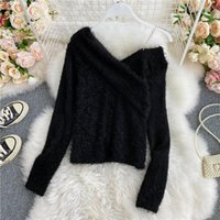 Women's Sweaters Seahorse Hair Pullover Sweater Fall winter Unilateral Off-shoulder Long-sleeved Sexy Short Top GX1460