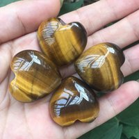 """Gemstones Natural Tiger Eye Crystal Carved 1.2"""" Heart Shaped Palm Stone Reiki Healing Love Gift Jewelry"""