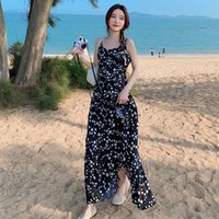 Casual Dresses Seaside Holiday Dress In The Summer Of 2021 Round Collar Cultivate Morality Show Thin French Retro Floral Chiffon