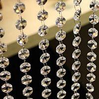 (33ft) كريستال الاكريليك الخرز مثمنة قلادة واضح الخرزة جارلاند الثريا شنقا للحزب زخرفة الزفاف