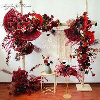 الزهور الزخرفية أكاليل الزفاف مخصص الزفاف قوس ديكور زهرة ترتيب بورجوندي النبيذ الأحمر الحدث ورقة مروحة ورقة يترك صف موقف محكم