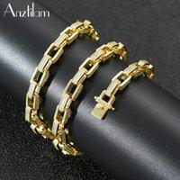 Hochwertige Gold Silber Farbe Kupfer Box Kette Halskette Bling + Zirkon Lange Link Choker Für Mann Frauen Hip Hop Schmuck Ketten