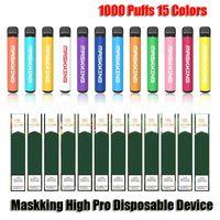 Maskking High Pro Disaposable E-cigarettes Device 1000 Puffs 600mah Battery 3.5ml Prefilled Cartridge Pod VS MK GT Plus XXL