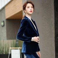 Kadın İki Parçalı Pantolon 2021 Moda Altın Kadife Kadınlar Suit Set Artı Boyutu S-4XL Suits Slim Zarif Bayanlar Ofis Giyim 2 ADET W70095