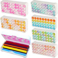 Large Popit Pencil Case Simples Sensory Silicone Bubble Stationery Storage Bag For Children Stress Relieving Pop It Fidget Toy