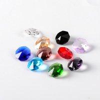 14mm 1000 adet / 2000 adet Kristal Cam Sekizgen Boncuk Karışık Renkler 1 Delik / 2 Delik DIY Avize Prizma Parçaları için