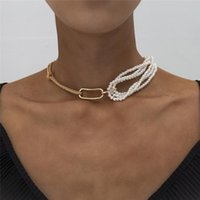 Chokers Lacteo Steampunk Unique Chunky Thick Twist Chain Female Charm Necklace Gothic Multi Layered Imitation Pearl Pendant