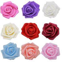 50pcs / lot 7cm 인공 PE 폼 꽃 웨딩 홈 축제 장식 꽃 DIY 화환 공예 장미 장식 용품