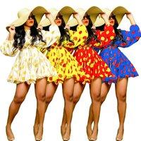 뜨거운 여성 꽃 프린트 드레스 새로운 둥근 목 섹시 긴 소매 빈티지 보헤미안 해변 휴가 Vestidos 봄 여름 느슨한 캐주얼 드레스