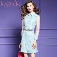 Casual Dresses TESSCARA Women Runway Designer Luxury Lace Dress High Quality Sweet Wedding Party Robe Cocktail Celebrity-inspired Vestidos