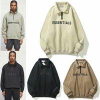 2021 La paura di Dio nebbia Essentials Essentials Half-Zip Stand Collar Felpe Felpe Uomini Donne con cappuccio Essenziale Pullover Equipaggiamento Girocollo Streetwear K1PH #