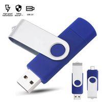 USB флэш-накопители OTG Thumb Driver Pendrive 64GB Memoria CLE палочки 2.0 Палка памяти 32 ГБ 8 ГБ Внешний металлический металлический из нержавеющей стали оптом пользовательский логотип реальная емкость