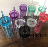 BPA Free 16oz Acrylic Skinny Tumbler Double Wall Clear Drinking Cup with Lid and Straws Heat Proof Water Bottle 08