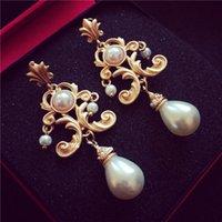 Moda Vintage Pendientes de perlas Retro Barroco Pendientes de novia Accesorios