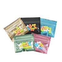 100pcs Orecchini al dettaglio Borse da imballaggio Borse auto-sigillature Bustelle Gioielli Pellicola di alluminio Zip Zip Front Clear Transparent Mylar Bag
