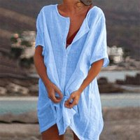 2021 Women's Shirts New Design Summer Beach Dress Casual Slim Women's Solid Color Short Sleeve Large Size Female Dress