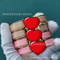 Pulseira pulseira letra h esmalte casal feminino largo e estreito fecho latão 18k rose ouro maré líquido vermelho