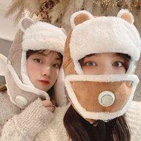 Winter Women Bomber Cashmere Hat Cat Ear Plush Mask Lei Feng Bonnet Breath Valve Outdoor Ski Earmuff Protection Face Cap