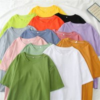2020 Spring Summer Women Candy T Shirt Oversize Boyfriend Style Tops Perfect Basic Tees Render Unlined Upper Garment Z7wI#