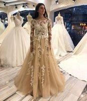 Scoop Neck Long Sleeve A Line Wedding Dress Appliqued Bridal Gowns Sweep Train Corset Back Tulle Bride Dresses