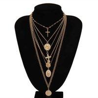 متعدد الطبقات منحوت عملة ملاك قلادة المختنق قلادة القوطية العذراء ماري الصليب مكتنزة سلسلة طويلة النساء المجوهرات