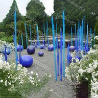 Garden Decoration Floor Lamp Murano Glass Spike Spears Luxury Standing Reeds Crafts Engineering Blue Hand Blown Sculpture 24 to 48 Inches Long