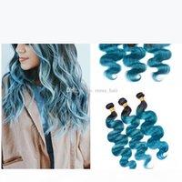 اثنين من لهجة الأزرق الشعر البشري حزم مع الدانتيل أمامي إغلاق البرازيلي العذراء شعر الإنسان الجسم موجة أومبير الرباط أمامي مع حزم