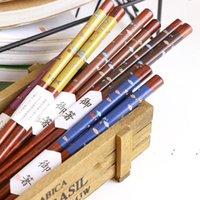 Многоразовый японский стиль натуральный деревянный палочки для еды суши еда милые рыбы многоцветные деревянные капли палочки EWF6848