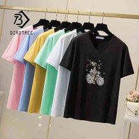 Cuello en v camiseta mujer floral estampado de algodón mangas cortas sueltas verano camisetas básicas tops 6 color de caramelo más tamaño L-4XL T13111X 210416