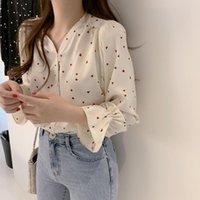 Casual Women Heart Print Long Sleeve Shirt Fashion V-neck Button Blouse Top For Outdoor Streetwear Women's Blouses & Shirts