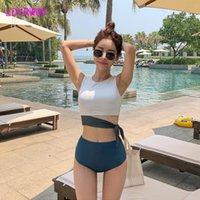 ملابس السباحة النسائية ldyrwqy 2021 الأزياء مثير الدانتيل متابعة اللون مطابقة مزاجه عالية الخصر اقتصاص بيكيني ملابس السباحة قطعتين قطعة