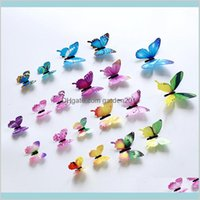 Wall Stickers Home Décor & Garden 3D Butterfly 12Pcs Set Decor Muti Colors Butterflies Walls Decors Colorful Poster Window Decoration