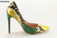 Attantou 2021 mujer tacones altos bombas stiletto tacón fino zapatos de mujer puntiaguda punta de la piel snake skin size 35-42 vestido