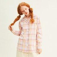 Printemps Design Femme Blouse Bouton Smiley Bouton à manches longues Coton Lettres Patchwork Patchwork Plaid Mesdames Shirt Tops 210515