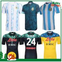 2020 2021 Argentina Messi Maradona Soccer Jersey Retro 1978 1986 1981 87 88 20 21 나폴리 나폴리 마르셀로 홈 축구 셔츠