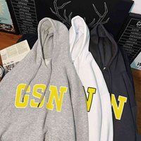 2021 new simple letter printed sweater large loose student men's versatile hooded Terry top