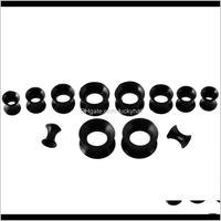 Sobrancelha 30 pçslote preto acrílico com túneis sile plug kit kit orelha expansor maca conjunto corpo piercing jóias kv9wj t5f9w